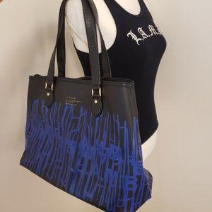 L.A.M.B Blue & Black Barcode Tote Bag
